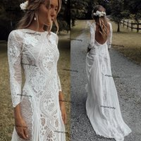 Vintage Crochet Lace Wedding Dresses Long Sleeve Backless Scoop Neck vestido de novia Boho Boho country Bridal Gown Robe De Mariee
