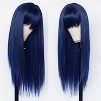 Longue perruque synthétique soyeuse et soyeuse pleine bleue bleue bleue couleur cospaly