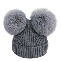 قبعات القبعات 3-18 أشهر مولود الطفل أطفال بنات الفتيان الشتاء الدافئ متماسكة قبعة فروي كرات pompom الصلبة لطيف النيكين الصوفية القبعات