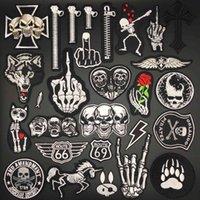 Abzeichen Stickerei Schädel Kleidung Punk Streifen zum Nähen DIY Dekoration Kleidung Aufkleber Bügeln Patches Appliq