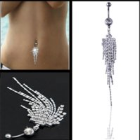 Stainless Steel Diamond Tassel Navel Belly Button Rings Fashion Sexy Crystal Pierced body Women Fashion Jewelry