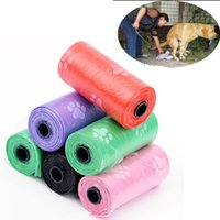Pet Dog Garbage Bag 15pcs Roll Printing Cat Dogs Poop Outdoor Home Clean Refill Travel Waste Bags Pets Supply WLL472
