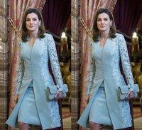 Suits Short Two Piece Blue Long Sleeve For WeddingElegant Mother Of Bride Dresses