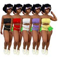 النساء ملابس قصيرة زائد حجم الصيف أزياء عارضة إمرأة عالية مرونة النسيج الصدرية السراويل الرياضية قطعتين مجموعة السيدات الركض البدلة D139