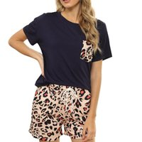 Two Piece Tie Fye-Pyjamas Kurzarm Plaid Leopard Print Homeware Set Frauen T-Shirt
