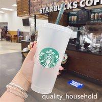 Starbucks حورية البحر آلهة 24 أوقية / 710 ملليلتر أكواب بلاستيكية بهلوان قابلة لإعادة الاستخدام شرب شرب مسطح أسفل عمود شكل غطاء القش أكواب bardian 50 قطع مجانا dhl
