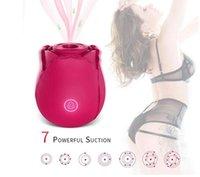 Rose Flower Clitoris Stimulation Vibrator with 7 Intense Suction Masturbator Clitoral Brush Breast Massage Vibrating Sex Toys For Women