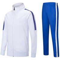 Niños en blanco Jerseys de fútbol para adultos conjuntos de fútbol de sobrevetement hombres niños cremallera con cremallera chaqueta deportes chándal uniformes traje
