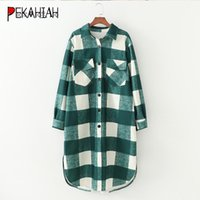 Vintage Solapa de manga larga Chaqueta de manga larga Fashion Slim Plaid Pocket Warm Elegant Lady Casual Flow Chic Top 2021 Chaquetas de mujer