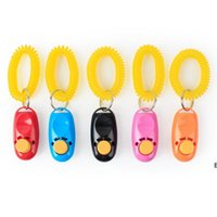 Pet Dog Training Whistle Click Clicker Agility Training Trainer Aid Wrist Lanyard Dog Training Obedience Supplies Mixed Colors DHD6723