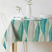 홈 섬유 신선한 녹색 식물 인쇄 된 린넨 방수 식탁보 파티 홈 인테리어 편리하고 실용적인