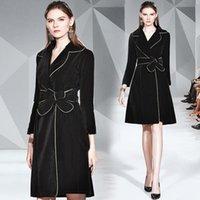 Women's Trench Coats ZUOMAN Women Autumn & Winter Long Velvet Coat Female High Quality Vintage Designer Elegant Blazer Outerwear