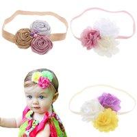 Ragazze Accessori per capelli Baby Fandbands Rosa Chiffon Flower Bambini Bandi per bambini Principessa Accessorio Fascia B7340