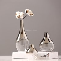 Nordic Flower Glass Vase Creative Silver Gradient Dried Insert Desktop Terrarium Jewelry Decoration Plant Holder 210409