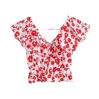 Kadın Bluzlar Gömlek MXTIN 2021 Kadınlar Yaz Vintage Tatlı Çiçek Baskı Kırpılmış Moda V Yaka Kısa Kollu Kadın Blusas Chic Tops