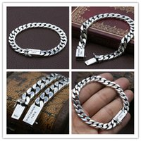 925 sterling silver link chain handmade bracelets with plug in clasps high quality American European punk style designer vintage jewelry accessories gifts