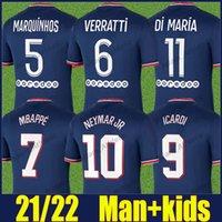Maillots de Paris Fussball Jerseys 2021 2022 Neymar Mbappe Verratti Icardi Football Jersey di Maria Keanisch Diallo Kimpembe Marquinhos Co-Branded Shirts 21/22 Mann Kinderkit