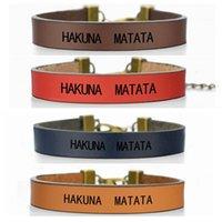 """Tennis """"Hakuna Matata"""" Afrikanischer Sprichwort inspirierend Rot Leder Armband für Frauen Männer Vintage Schmuck Gravierte Armreif Freundschaft Geschenk"""