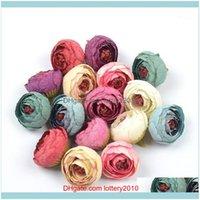 Decorative Flowers Wreaths Festive Party Supplies Home & Garden100Pcs 4Cm Silk Rose Bud Artificial Flower Heads For Wedding Room Decoration