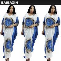 Ethnic Clothing BAIBAZIN African Mother Middle East Muslim 2021 V-neck Large Size Chrysanthemum Print Chiffon Vest Dress