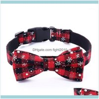 Collars Leashes Pet Supplies Home & Gardenred Christmas Holiday Collar With Bow Tie Snowflake Design Puppy Dog Necklace Wholesales 5 Sizes1
