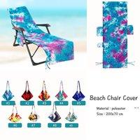 Moda Inicio Textilestie Dye Silla de playa Cubiertas con bolsillo lateral Cubierta de chaiseo colorido Cubierta de toalla para la piscina de la tumbona tomando el sol