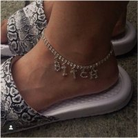 Hip hop Women BITCH Crystal Anklets Bracelet Tennis Letter DIY Jewelry Silver Color Gold Foot Beach Leg Chain Barefoot Ankle T200901