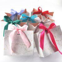 Faux cils 100 / Pack en gros Sac-cadeau de marbre créatif pour la boîte à cils de fête Coque en papier chocolat Forfait / Faveurs de mariage Boîtes de bonbons