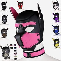 Party Masks Sex Women Girls Cosplay Puppy Role Play SM Sexy Lady Rubber Helmet Soft Interest Latex Dog Mask Necklace Collar Suit