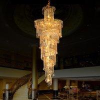 Chandeliers Large K9 Gold Crystal Luxury Modern Led Chandelier Lighting Lustre Cristal Upscale Indoor El Engineering Stairs