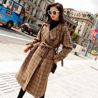 Frauen Wollmischungen Koreanische Stil Damen Trenchmantel Plaid Retro Lange Einreiher Gürtelrose Lose Frauen Duster Oberbekleidung Büro Windbrake
