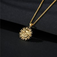 Retro simple copper plated real gold sun pendant necklace for lady 2021