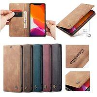 Casema de cuero para iPhone 12 11 Pro MAX XS MAX XR X SE 2020 6 7 8 PLUS 6S 5G SAMSUNG NOTA 20 ULTRA A81 A91 M30S Casos de billetera magnética