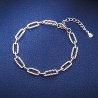 Gerçek 925 Gümüş 16 + 4 cm Bilezik Mikro Açacağı Tiny Zirkon Uzun Kare Şekli Packg Hediye Kutusu Ile Serin Günlük Giyim Güzel Takı