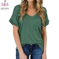 Women's T-Shirt 2021 Summer Women Fashion Short Sleeve V-Neck Pockets Loose Plus Size Tees Female Clothing Tops Tshirts Lady