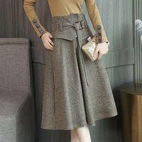 Skirts Autumn Winter Plus Size Women's Soild Woolen Pleated Skirt With Belt Lady High Waist A-Line Swing Midi Jupe Femme Saia T276