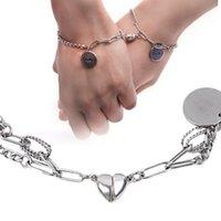 Charm Bracelets 2Pcs Love Heart Magnet Attracting Couple Friendship Bracelet Fashion Simple Trend Romantic Metal Valentine's Day Gifts