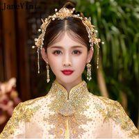 Cabelos Barrettes Janevini 2021 Retro Chinês Headwear Nupcial com Brincos Antigos Hairpins de Ouro Pérolas Casamento Coroa Jóias Acesso