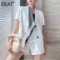 [DRATURE] Shorts demi-corps Deux Pieces Costume Notched Short Sleeve Loose Femmes Blancs Patchwork Mode Mode d'été 2021 7E1040 Tracksuits pour femmes