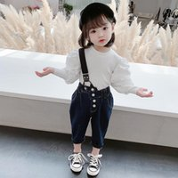 Clothing Sets Girls Denim Overalls Set 2021 Autumn Korean White Bottoming Shirt Two-piece Cute Toddler Girl Fall Clothes Halloween