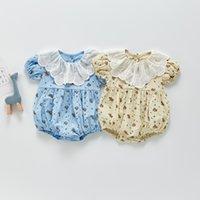 ZHBB INS Korean Australia Baby Girls Rompers Floral Newborn Jumpsuits Climb Cloths Bodysuits