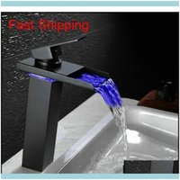 "Sink Faucets, Showers As Home & Garden10.6"" Black Water Powered Led Bathroom Basin Faucet Brass Mixer Tap Waterfall Faucets Col Jlzm Drop De"