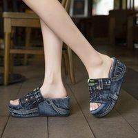 Sandals 2021 Summer Women Wedges Peep Toe Denim Platform Slides Shoes Thick Bottom Outdoor Beach Casual Flip Flops Footwear Sexy
