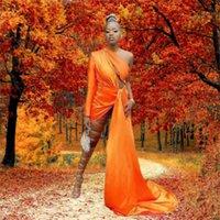 2021 Sexy One-Shoulder Orange Prom Dresses Long Black Girl's Evening Party Gowns Robe de soirée mariage