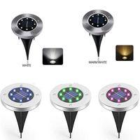Solar Ground Lamp 8 LED Power Disk Light Waterproof Garden Lights Landscape Lighting for Yard Lawn Patio Pathway