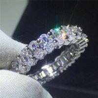Vecalon 9 Stilleri Severler Parmak Yüzük 925 Ayar Gümüş Elmaslar CZ Nişan Düğün Band Yüzük Kadınlar Takı için 39 T2