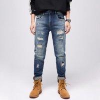 Men's Jeans Street Style Fashion Men Retro Blue Destroyed Ripped Vintage Designer Patchwork Hip Hop Frayed Hole Denim Pants