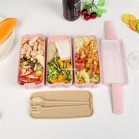 900ml 3 Layers Bento Box Eco-Friendly Lunch Box Food Container Wheat Straw Material Microwavable Dinnerware Lunchbox 300 S2