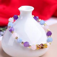 Dropship 2021 Натуральный граненый фиолетовый хрустальные бусины с изменением цвета Pixiu очарование браслет вьетнамские песчаные золотые женские ювелирные изделия подарок бисером, пряди