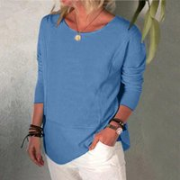 Women's Blouses & Shirts Solid Color Blouse O Neck Long Sleeve Pullover Tops Casual Loose Tunic For Women Plus Size Clothing Blusas 40#